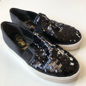 Sam Edelman Black Sequin Slip-on Sneakers